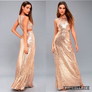 🆕 Lulu's Belle Etoile Gold Sequence Maxi Dress